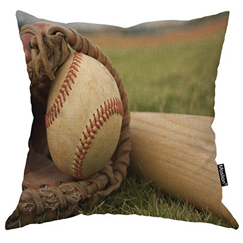- Moslion Baseball Pillows Sport Baseball in a Glove Near The Bat Ball Mitt Throw Pillow Cover Decorative Square Accent Cotton Linen Home Pillow Case 18X18 Inch