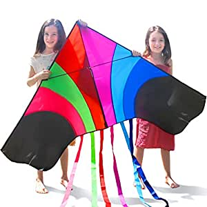 "Tomi Kite – Huge Rainbow Kite - Ideal for Kids & Adults – Easy to Launch in Stiff Wind Or Soft Breeze – 60"" Wide – 100 Meter String – 6 Tails – Built to Last - Great for Family Fun"
