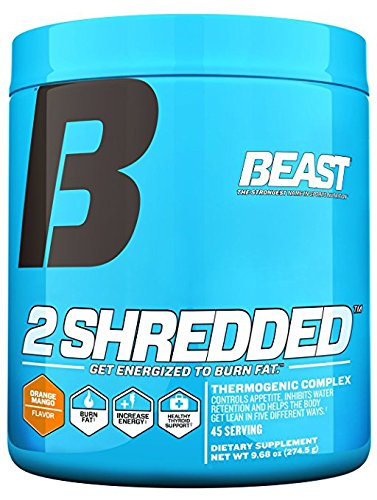 Beast Sports 2 Shredded Powder Thermogenic Weight Loss Supplement. Acts As a Fat Burner, Appetite Suppressant and Water Pill To Help Shed Fat and Excess Water. 274 Gms, 45 Servings, Orange Mango