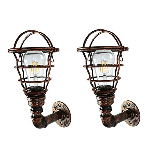 LDDENDP Retro Industrial Wind Aisle Creative Bedroom Exterior Wall Light Garden Wall Lamp 240v Outdoor Waterproof Balcony Hose Wall Light E27 Anti-corrosion Wrought Iron Edison Indoor and Outdoor Ligh