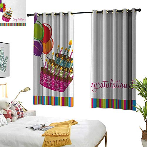 """Price comparison product image RuppertTextile Birthday Decor Curtains Pink Written Congratulations Graphic Cake Candles Balloons Birthday Art Print 55"""" Wx72 L Multicolor"""