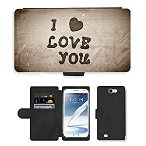 Hot Style Cell Phone Card Slot PU Leather Wallet Case // M00152572 I Love You Heart Valentine Holiday // Samsung Galaxy Note 2 II N7100