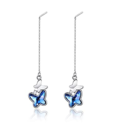 d44386006aaf ... Women Butterfly Drop Dangle Earrings with Crystals from Swarovski Long  Chain Ear Thread Christmas Gifts
