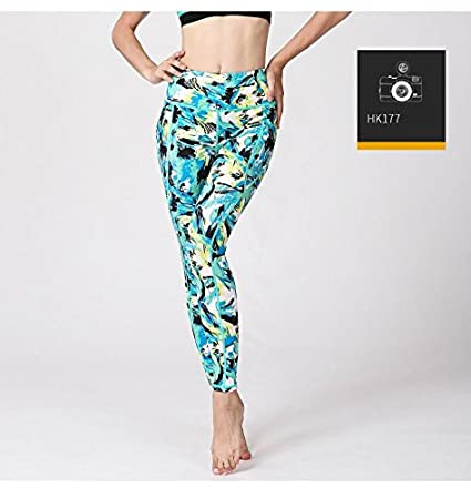 60d4f22220f68 Image Unavailable. Image not available for. Color: Women Printed Yoga Pants  Elastic Stretch Sport Legging Fitness Gym Pants Workout Running Tight ...