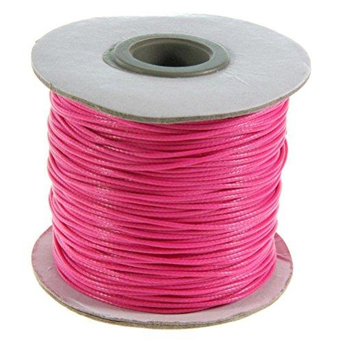 Fil Lacet en Coton enduit (80 Mètres de couleur Rose vif) 1mm de diamètre