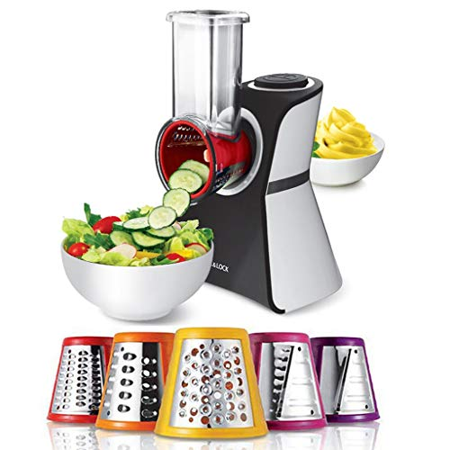 Versatile 2 In 1 Frozen Fruit Treat Ice Cream Maker And Salad Shooter With 5 Stainless Steel Grating Attachment, Vegetable Slice, Useful Kitchen Tool, Great For Frozen Yogurt (Color : Silver)