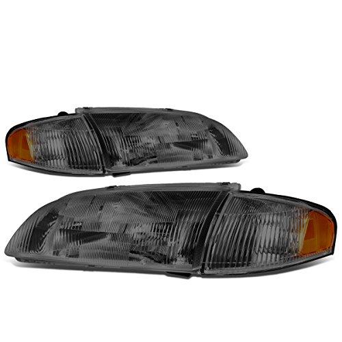 For Mazda 626 6th Gen 4Pcs Smoke Fluted Lens Headlights + Amber Corner Lights Lamp ()
