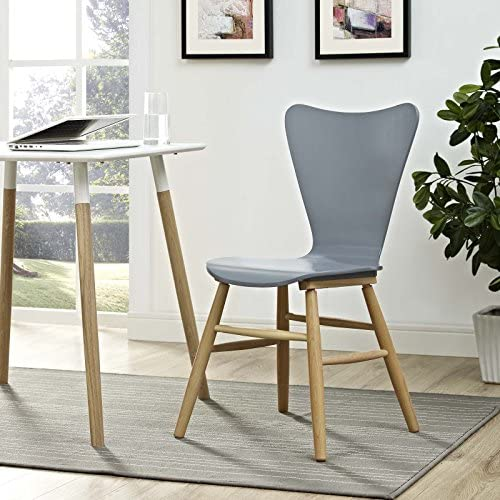 Modway Cascade Mid-Century Modern Wood Kitchen and Dining Room Chair in Gray