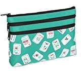 Mah Jongg Green Color Tiles 3 Zipper Mah Jong Purse for Mahjong Card