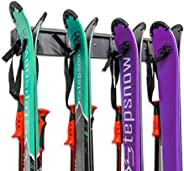 Ski Storage Rack, Wall Mounted, Holds 4 Pairs of Skis & Skiing Poles or Snowboard, for Home and Garage Sto