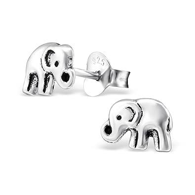79c43fca3532 Kleine Elefanten-Ohrringe – Sterlingsilber, oxydiert  Amazon.de  Schmuck