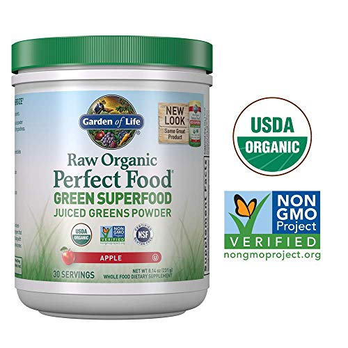 - Garden of Life Raw Organic Perfect Food Green Superfood Juiced Greens Powder - Apple, 30 Servings (Packaging May Vary) - Vegan Gluten Free Whole Food Dietary Supplement, Plus Probiotics & Enzymes
