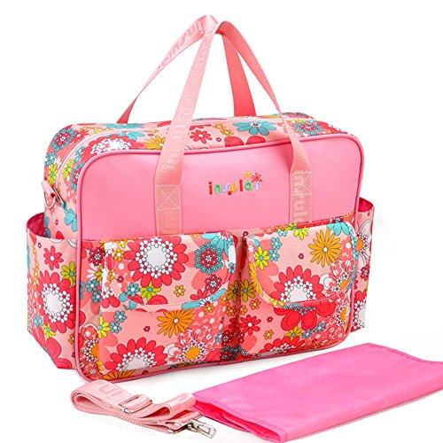 Moda viaje portátil mamá bolso multifunción bebé pañales gran capacidad azul Talla:talla única rosa