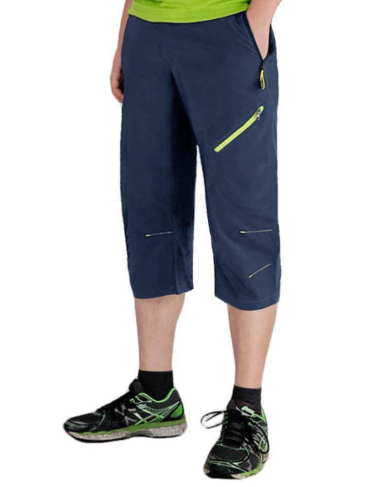BIYLACLESEN Quick Dry Lightweight Cropped Trousers 3//4 Long Cargo Capri Shorts