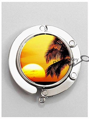 Purse New Folding Handbag (BlackKey Palm Trees Tropical Beach Ocean Breeze with Sun - Summer Metal Folding Table Hook Hanger Holder for Purse Handbag Bag -109)