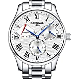 Mens Power Reserve Display Automatic Mechanical Watches Full Stainless Steel Waterproof Swiss Watches (Silver White)