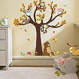 Ufengke Cartoon Forest Animal Owl Monkey Bear Tree Wall Decals,Children's Room Nursery Removable Wall Stickers Murals