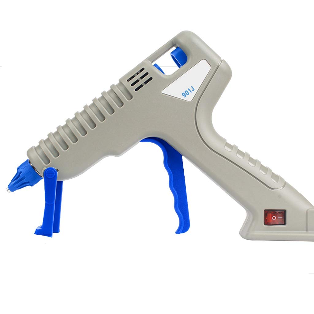 FeiQiangQiang Hot Melt Glue Gun, 80W Professional Industrial Grade Hot Glue Gun, With 10 30 60 Glue Sticks, Bracket And Comfort Trigger, School Or Home Small Items, Daily Sealing And Maintenance, Gray by FeiQiang