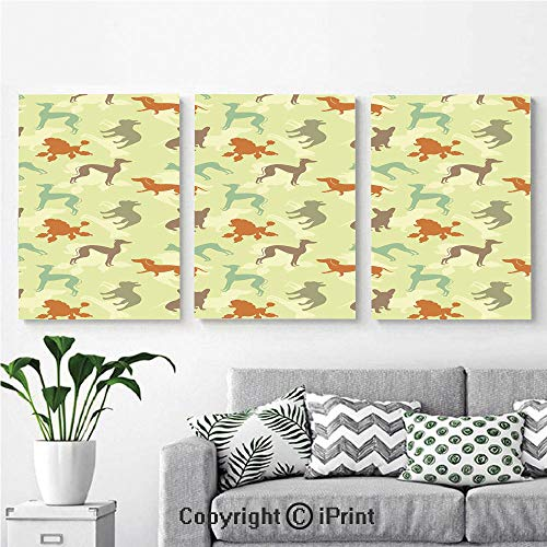 Canvas Prints Modern Art Framed Wall Mural French Bulldog Greyhound Poodle Terrier Silhouette Pure Breed Animals Canine Type Decorative for Home Decor 3 Panels,Wall Decorations for Living Room Bedro