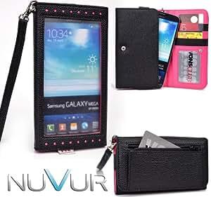 EXPOSE' Series: Black Hot Pink Clutch Wallet Phone Holder May Fit verykool s758 NuVur ™  ESXLEXM1 