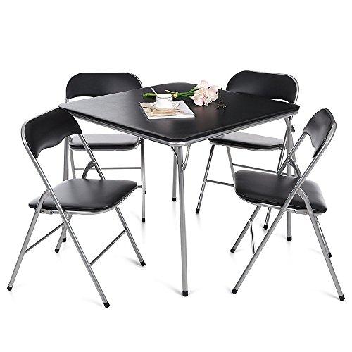 ikayaa 5 piece folding card dining table chair set black type 1