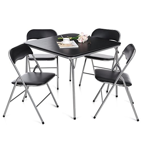 IKAYAA 5 Piece Folding Card Dining Table Chair Set, Black (Type (5 Piece Folding Table And Chair Set)