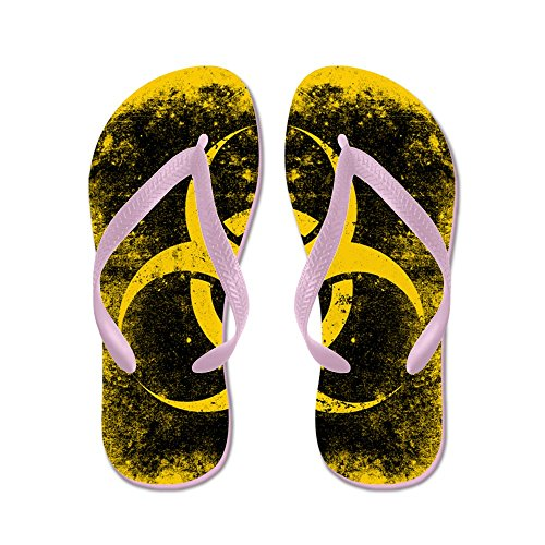 Cafepress Groot Biohazard Grunge Zwart - Flip Flops, Grappige String Sandalen, Strand Sandalen Roze