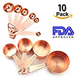 Copper Measuring Spoons,Set of 10, Ideal For All Ingredients,Copper Stainless Steel Measuring Spoons, Mirror Polished. (Set of 10(240ml-0.63ml))