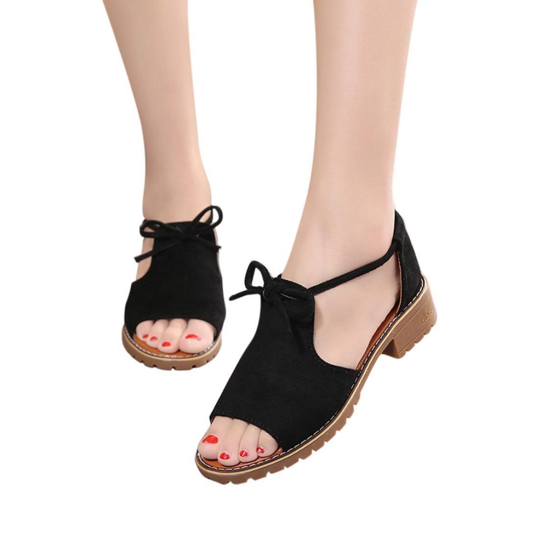 AIMTOPPY HOT Sale, Ladies Band Fish Head Open Toe Thick Heel Sandals Shoes Rome Sandals Shoes (US:7, Black)