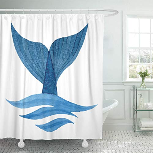(Emvency Fabric Shower Curtain with Hooks Blue Diving Whale Tail in Wave Watercolor Fish Sea Ocean Species Water Animal Aquatic 60