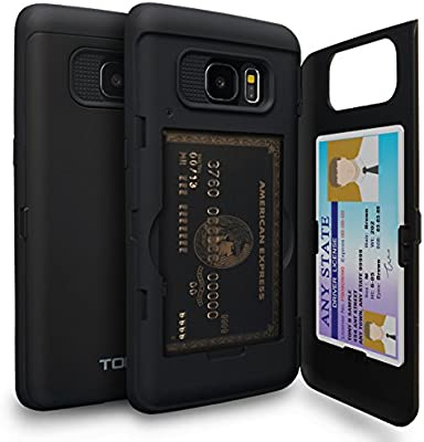 TORU CX Pro Funda Galaxy S7 Edge Carcasa Cartera con Tarjetero Oculto y Espejo para Samsung Galaxy S7 Edge - Negro Mate