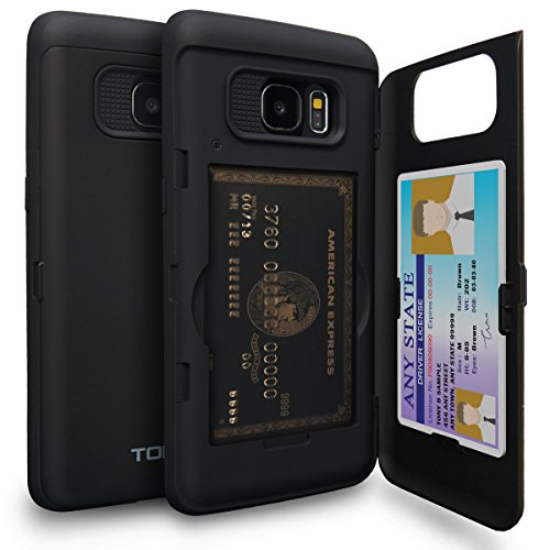 TORU CX Pro Galaxy S7 Edge Wallet Case with Hidden ID Slot Credit Card Holder Hard Cover & Mirror for Samsung Galaxy S7 Edge - Matte Black