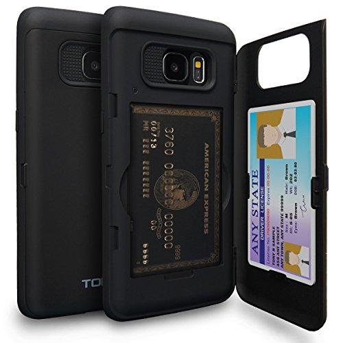 TORU CX Pro Galaxy S7 Edge Wallet Case with Hidden ID Slot Credit Card Holder Hard Cover & Mirror for Samsung Galaxy S7 Edge - Matte Black