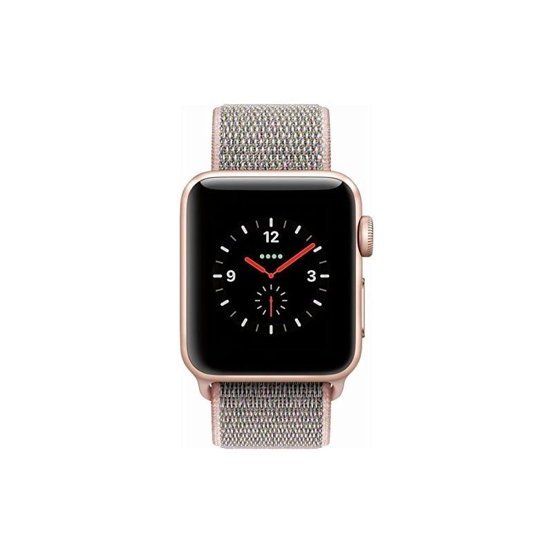 Apple Watch Series 3 38mm Smartwatch (GPS + Cellular, Gold Aluminum Case, Pink Sand Sport Loop Band) MQJU2LL/A