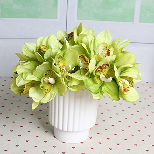 (TiTa-Dong 6 Heads Simulation Cymbidium Orchid Artificial Flower Bouquet For Wedding Bridal Home Party Decor Green)