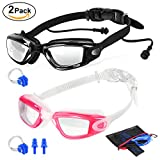 2 Packs Swim Goggles + Nose Clip + Earplugs + Mesh Pouches, ELECOOL Anti fog UV Protection NO Leaking Lenses Swimming Glasses & Swim Gear for Women Men Kids Girls Boys (Black/Pink)