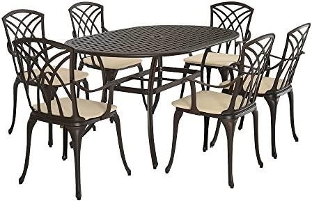 Amazon De Mayuber Aluminiumguss Tisch Und 6 Sessel Set Garten