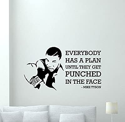 Mike Tyson Quote Wall Decal Everybody Has A Plan Until They Get Punched In The Face Lettering Sport Boxer Fitness Boxing Gym Vinyl Sticker Wall Art Kids Teen Boy Room Nursery Bedroom Decor Mural 81nnn