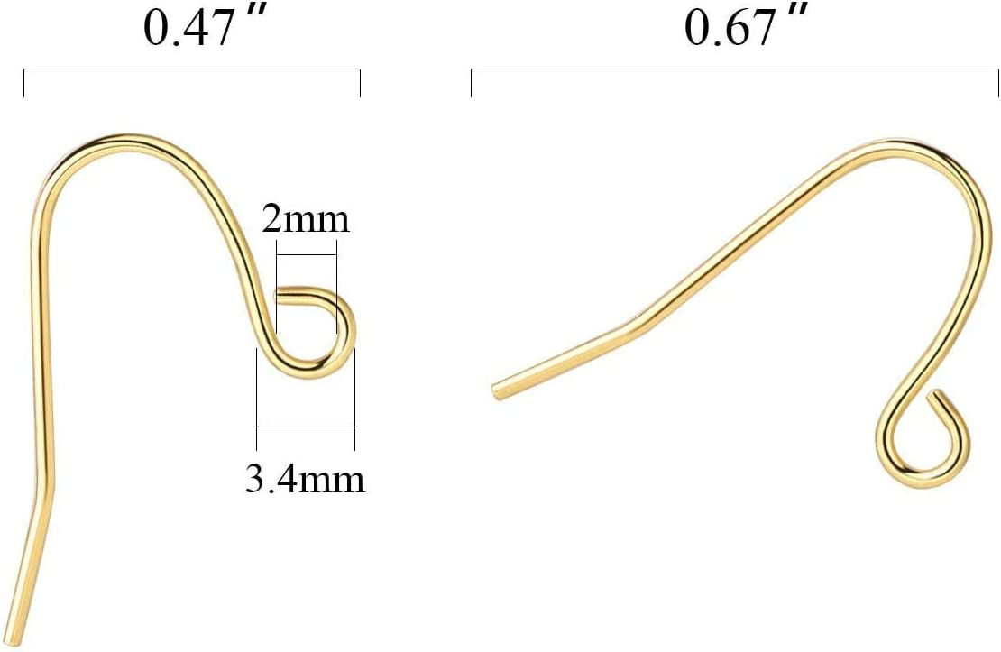 Earring Hooks 14K Gold Plated Hypoallergenic Ear Wires for DIY Jewelry Findings Unisex(200PCS 100 Pairs)