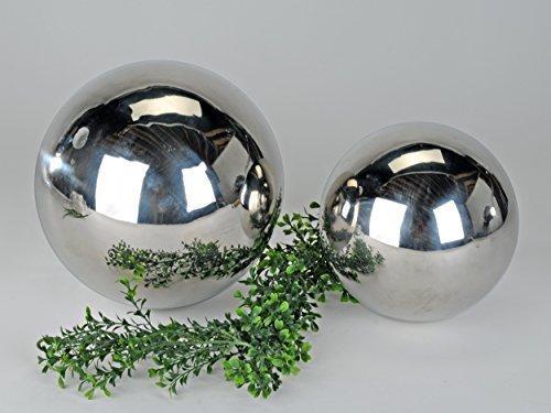 Sfera moderna con decorazione in argento realizzata in acciaio inox diametro 20 cm