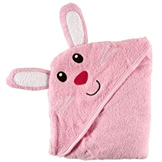 Luvable Friends Unisex Baby Cotton Animal Face Hooded Towel, Bunny, One Size