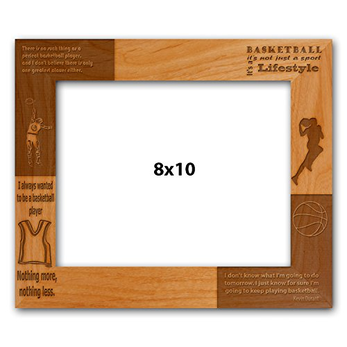 Laser Engraved Basketball - Customized Laser Engraved Basketball Quote Photo Cherry Wood Frame - 8 x 10 CF