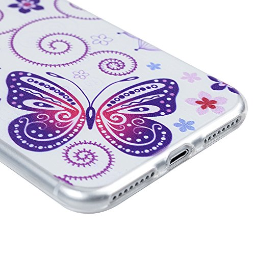 """Coque iPhone 7 Plus 5.5"""", Badalink Case Housse Bumper Coque de Protection TPU Silicone Gel Souple Flexible Ultra Mince Slim Léger Antichoc Anti Rayure Motif Papillon"""