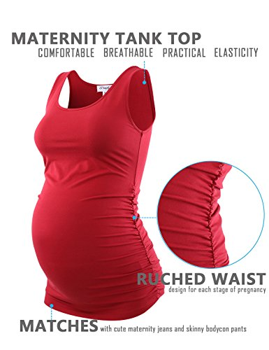 Peauty Maternity Tank Tops Bathing Suit t Shirts Shorts Pregnancy Clothes Women Plus Size 2X 3X (WineRed,XXXL) by Peauty (Image #3)