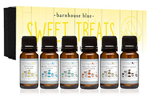 Sweet Treats Premium Grade Fragrance Oil - Gift Set 6/10ml Bottles - Banana Cream, Chocolate Mint, Blue Cotton Candy, Malibu Rum Cupcakes, Root Beer, Oatmeal Cookie Dough Candle Ring Cream