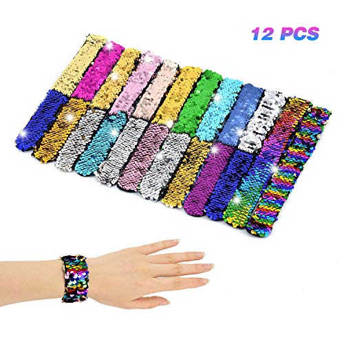 Racol Mermaid Slap Bracelet for Kids Girls Boys,12 Pack Two-color Decorative Reversible Charm Sequins Flip Wristband Bracelet for Birthday Party Favors Christmas Gifts for $<!--$12.88-->