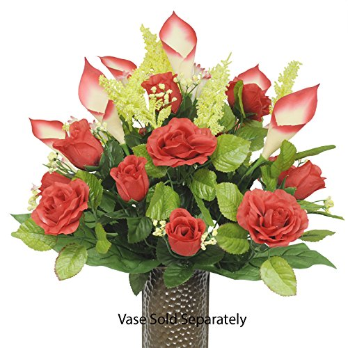 Red Rose and Red Calla Lily Silk Flower Bouquet with Stay-In-The-Vase® Design Flower Holder(SM1218) ()