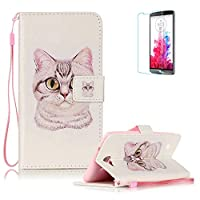 LG X5 Case [with Free Screen Protector], Funyye Stylish Vintage Pattern Magnetic PU Leather Wallet Case with [Lanyard Strap] and [Credit Card Holders Slots] Protection Case for LG X5 -Cool cat