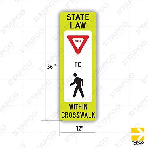 Crosswalk Sign - Tapco R1-6 Diamond Grade Cubed Rectangular School Sign, Legend