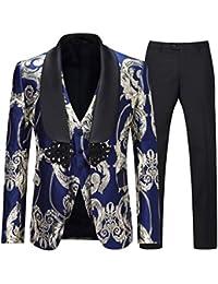 Men's Luxury Tuxedo Suit Slim Fit 3 Pieces Shawl Lapel Golden Floral Prom Dinner Tux Suit Jacket Vest Pants